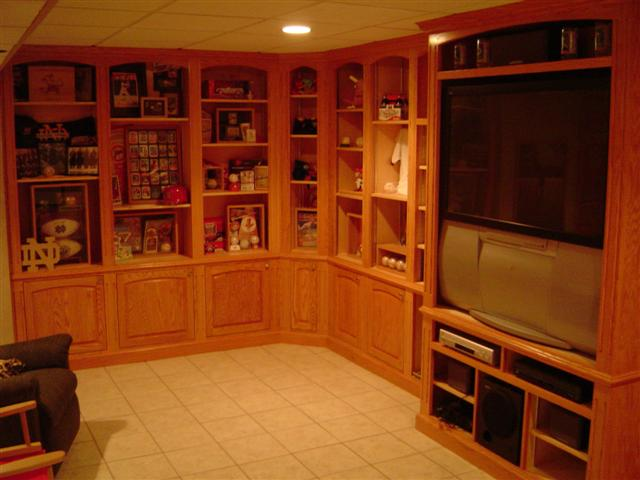 Built In Display Cabinets For Sports Memorabilia And T V Watching Red